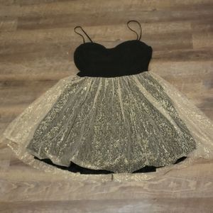 Mystic Gold and black party dress